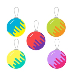 Set of five colorful christmas balls White vector image