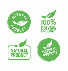 set of stamps with leafs natural product vector image