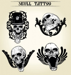 Set skull tattoo vector