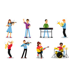 Set with musicians playing different vector
