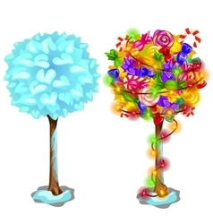 Snow frozen tree and holiday one with sweets vector