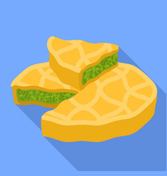 Spinach cake piece icon flat style vector