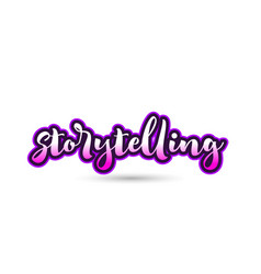 Storytelling calligraphic pink font text logo vector
