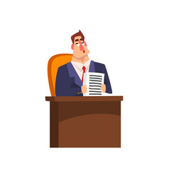 successful businessman character sitting at his vector image