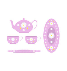 Tea set decorated with flowers vector
