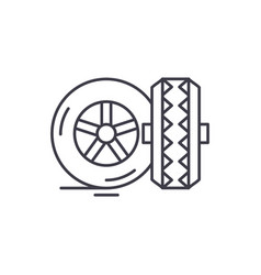 tires line icon concept tires linear vector image