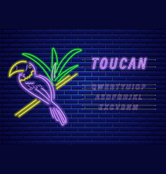 toucan neon glowing shiny colorful bird decor vector image