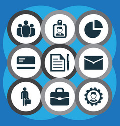 trade icons set collection of suitcase payment vector image