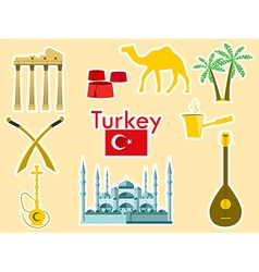 Turkey stickers Turkish symbols vector image