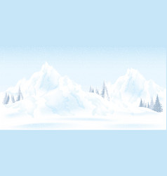 watercolor of winter mountains landscape with vector image