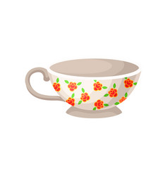 white porcelain cup with flowers vector image