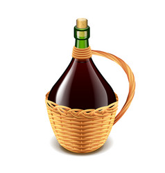 wine in wicker bottle isolated on white vector image vector image