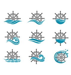 Yacht helm wheel vector