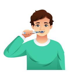 Young man brushing his teeth vector