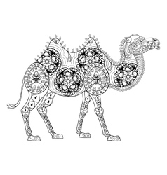Zentangle Camel totem for adult anti stress vector