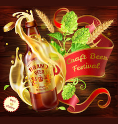 3d craft beer advertising poster template vector image