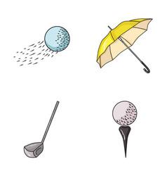 a flying ball a yellow umbrella a golf club a vector image