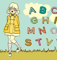 abc girl vector image