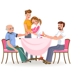 family eating dinner home happy people eat food vector image
