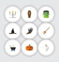 flat icon halloween set of zombie cranium gourd vector image vector image