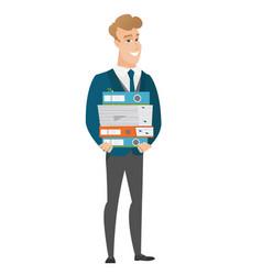 Groom holding pile of folders vector