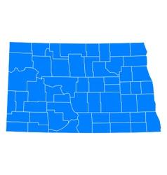 Map of North Dakota vector image vector image