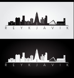 reykjavik skyline and landmarks silhouette vector image