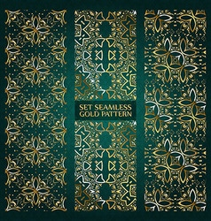 Set of golden lace pattern green vector