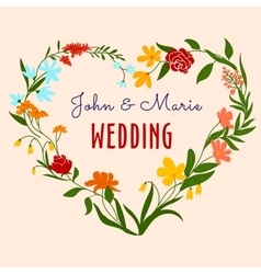 Wedding invitation with heart floral frame vector image