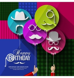 Birthday card Colorful balloons in flat design vector image vector image