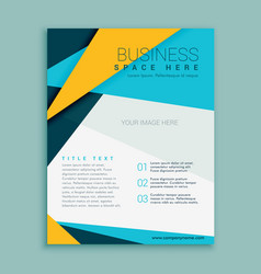 blue and yellow geometric brochure flyer design vector image vector image