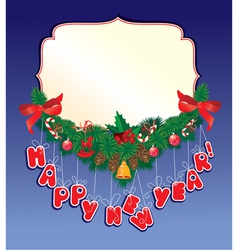 Christmas garland on blue background with empty fr vector image