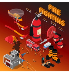 Firefighter Isometric Composition vector image vector image