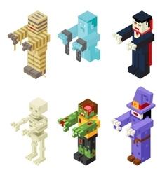 Halloween Monsters Icons Set Flat Design Isometric vector image vector image