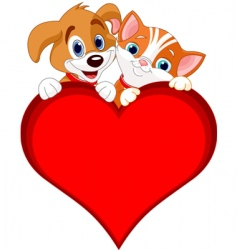valentine cat and dog sign vector image vector image