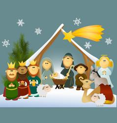 Cartoon nativity scene with holy family vector image vector image