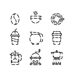 coffee and drink icon set with white background vector image