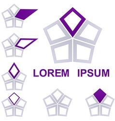 Geometric Hexagon Logo Set vector image