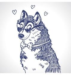 Husky sketch vector image