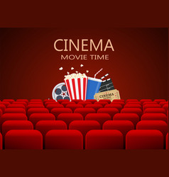 Movie theater with row of red seats vector