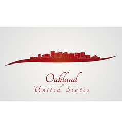 Oakland skyline in red vector image vector image
