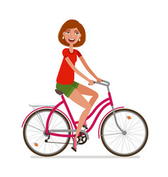 young beautiful girl riding bicycle sport vector image