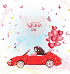 happy young woman in a car with red heart air vector image vector image