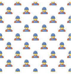 plumber man face pattern seamless vector image vector image
