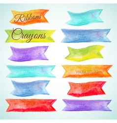 Set watercolor ribbons crayon vector image vector image