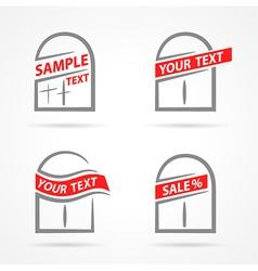 windows set emblem label your text element icons vector image vector image