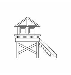 Wooden stilt house icon outline style vector image vector image
