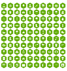 100 thunderstorm icons hexagon green vector
