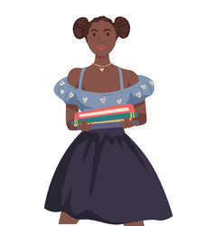 African girl with books stack international vector