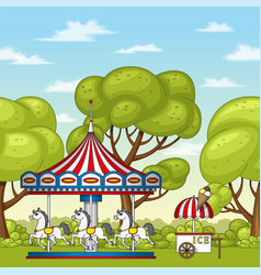 An carousel with horses vector